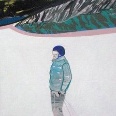 Untitled  ( Girl in Snow ) - Modern Landscape Painting, Winter, Ski, Snow, White