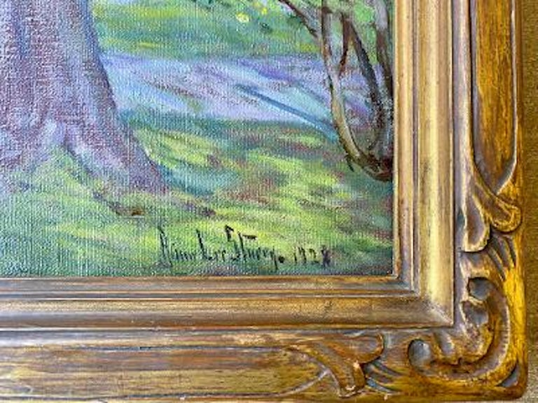 Large, original oil on canvas, American impressionist style painting by well known American female artist, Anna Lee Stacey (1865-1943), depicting the famous Old Lyme Congregational Church in Old Lyme, Connecticut. This church is noted as a favorite