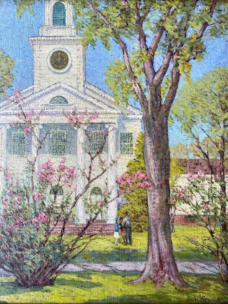 American Craftsman Anna Lee Stacey Original Painting of Old Lyme Congregational Church Connecticut