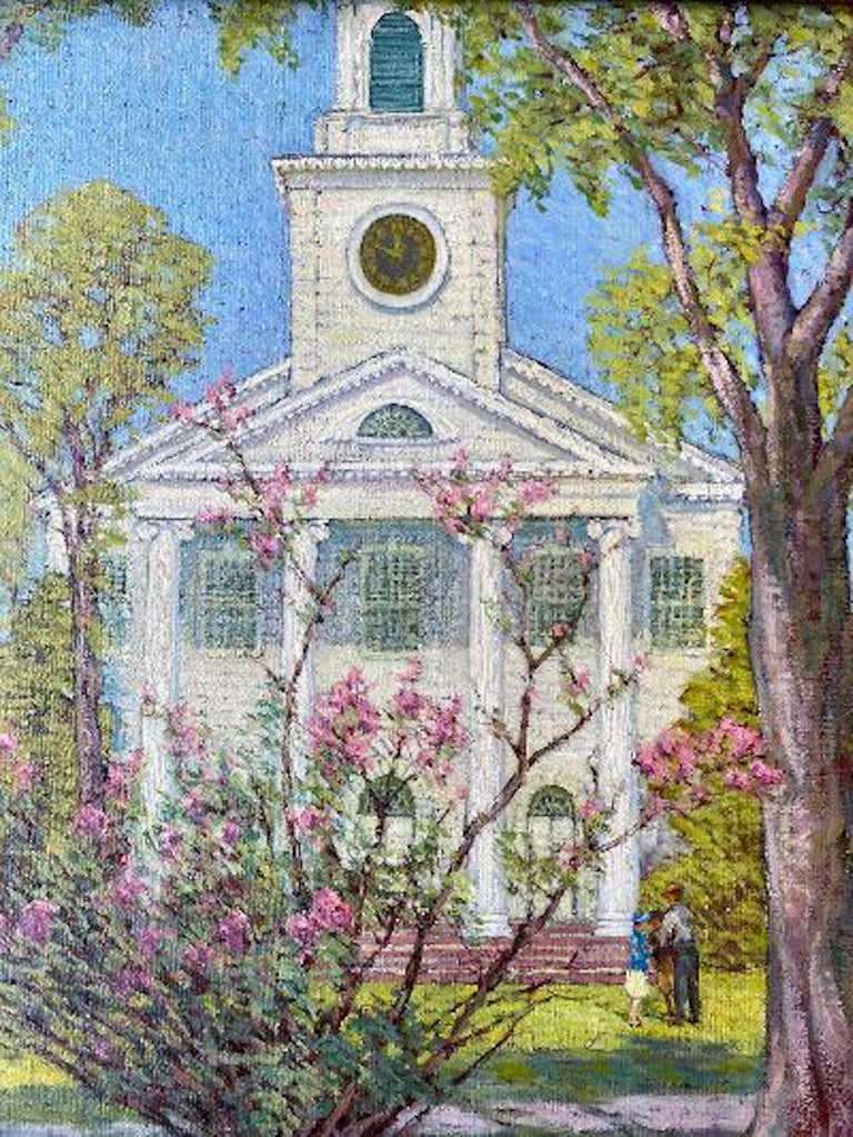 American Anna Lee Stacey Original Painting of Old Lyme Congregational Church Connecticut