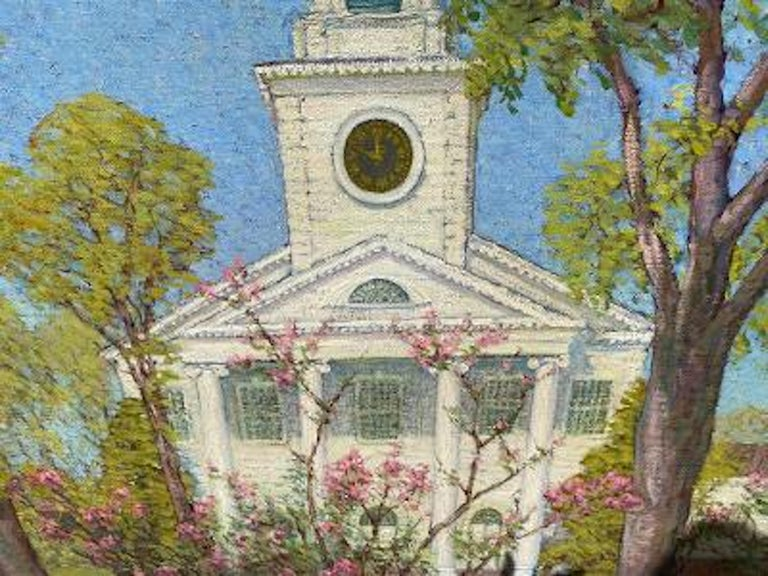 Hand-Painted Anna Lee Stacey Original Painting of Old Lyme Congregational Church Connecticut
