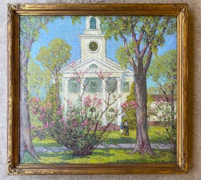 Canvas Anna Lee Stacey Original Painting of Old Lyme Congregational Church Connecticut