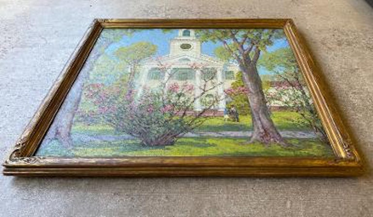 Anna Lee Stacey Original Painting of Old Lyme Congregational Church Connecticut  1