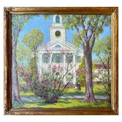 Anna Lee Stacey Original Painting of Old Lyme Congregational Church Connecticut