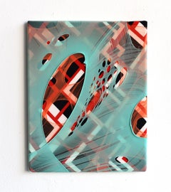 Erdachte Räume 4 (abstract textile painting fabric red black mint green nylon)