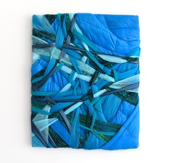 Clamped Blue (blue green abstract textile wall sculpture puffy fabric mixed)