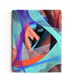 Erdachte Räume 2 (abstract textile fabric mixed media sustainable design Aqua)