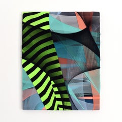Erdachte Räume 3 (abstract textile fabric mixed media sustainable stripes neon)