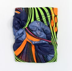 Glam Rock (navy indigo fluo green abstract puffy wall sculpture textile fabric)