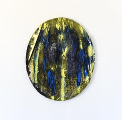 Material Painting 8 (oval yellow blue fabric wall net abstract grid wall)