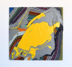 Patch (textile art yellow paint abstract painting textured wall art colourful)