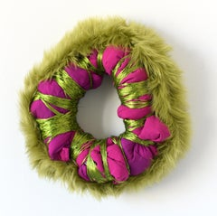 Untitled (circular wreath mixed media abstract wall sculpture fabric green pink