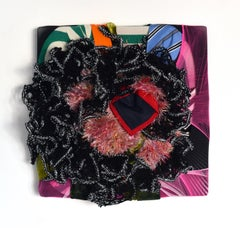 Wall Sculpture 23 (abstract textile wall sculpture fabric black red pink puffy)
