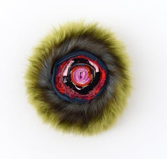 Spiral (circular ball mixed media abstract wall sculpture fabric green myth art)