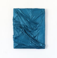 Work Shirt 2 (teal blue iridescent fabric wall folds abstract wall sculpture art