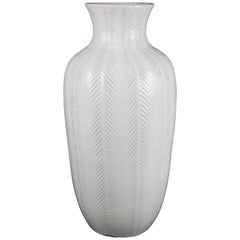 Anna-Lisa Thomson 1947 Upsala-Ekeby, Sweden, Large Vase with Fishbone Pattern