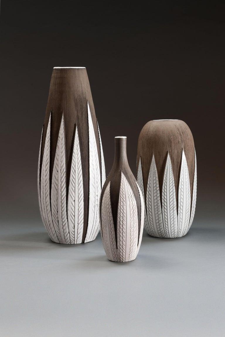 Swedish Anna-Lisa Thomson Ceramic 'Paprika' Vases (3) by Upsala Ekeby For Sale