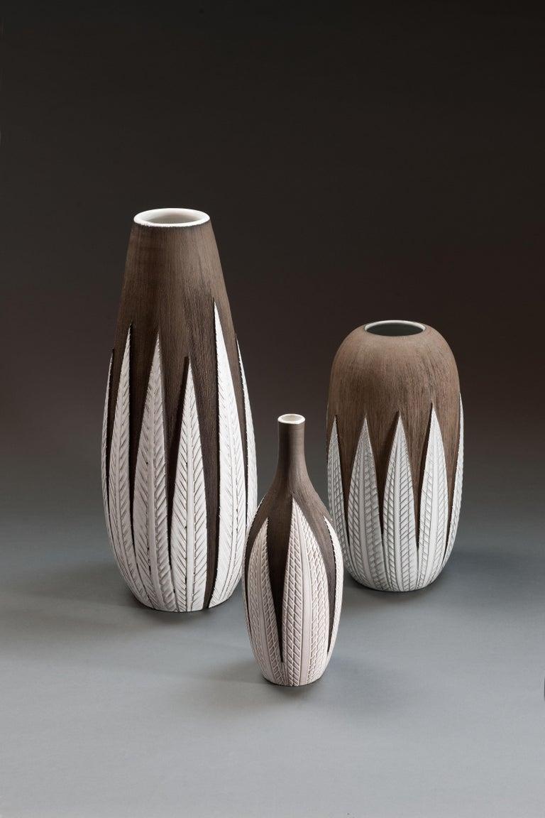 Glazed Anna-Lisa Thomson Ceramic 'Paprika' Vases (3) by Upsala Ekeby For Sale
