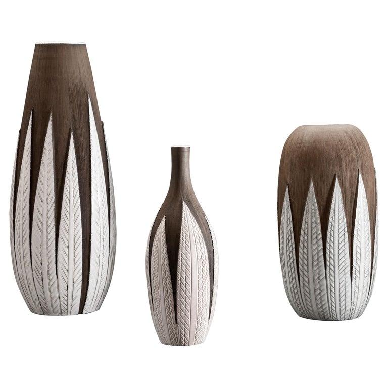 Anna-Lisa Thomson Ceramic 'Paprika' Vases (3) by Upsala Ekeby For Sale