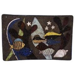"""Anna-Lisa Thomson for Upsala-Ekeby, Large """"Spectra"""" Dish in Glazed Stoneware"""