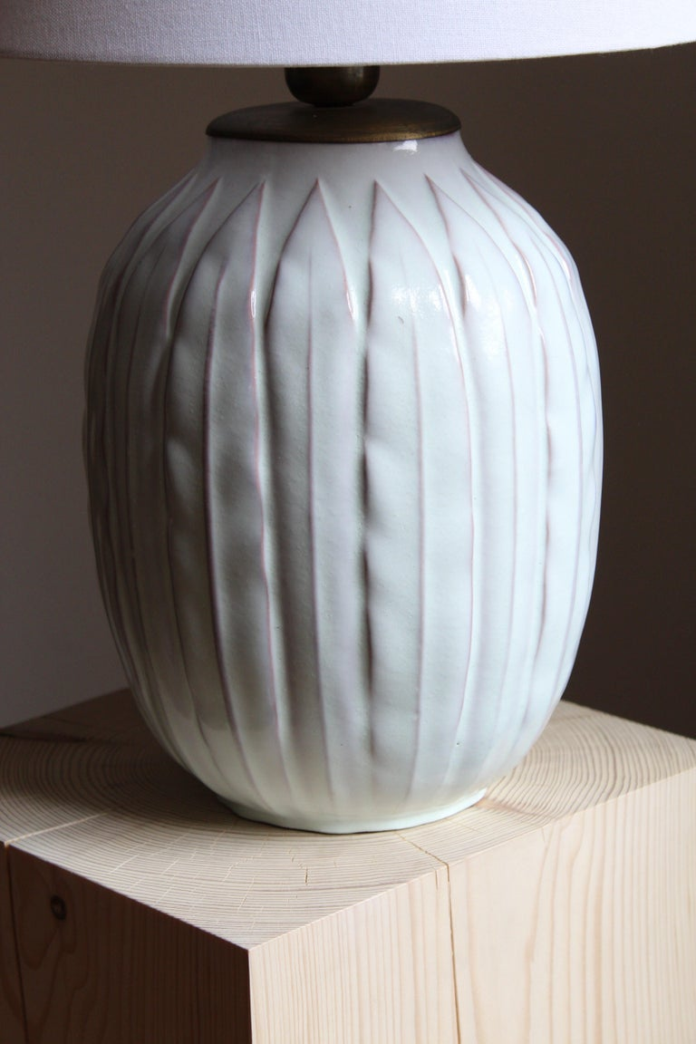 Scandinavian Modern Anna-Lisa Thomson, Large Table lamp, Glazed Stoneware, Upsala-Ekeby Sweden 1940s For Sale
