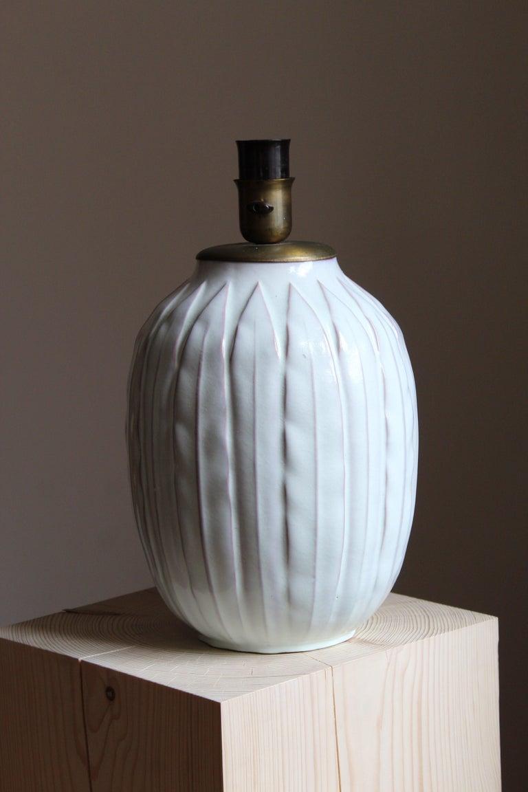 Swedish Anna-Lisa Thomson, Large Table lamp, Glazed Stoneware, Upsala-Ekeby Sweden 1940s For Sale