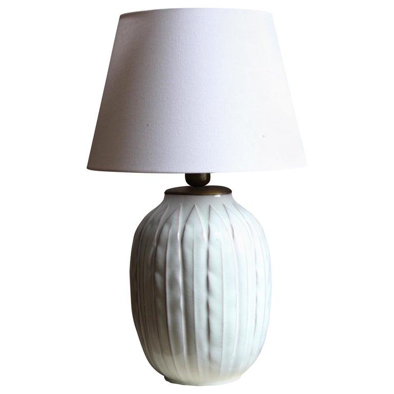 Anna-Lisa Thomson, Large Table lamp, Glazed Stoneware, Upsala-Ekeby Sweden 1940s For Sale