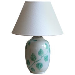 Anna-Lisa Thomson, Table lamp, Glazed Stoneware, Linen Upsala-Ekeby Sweden 1940s