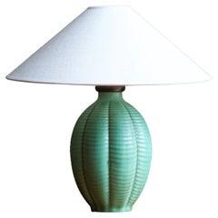 Anna-Lisa Thomson, Table Lamp, Green-Glaze Earthenware Upsala-Ekeby Sweden 1940s