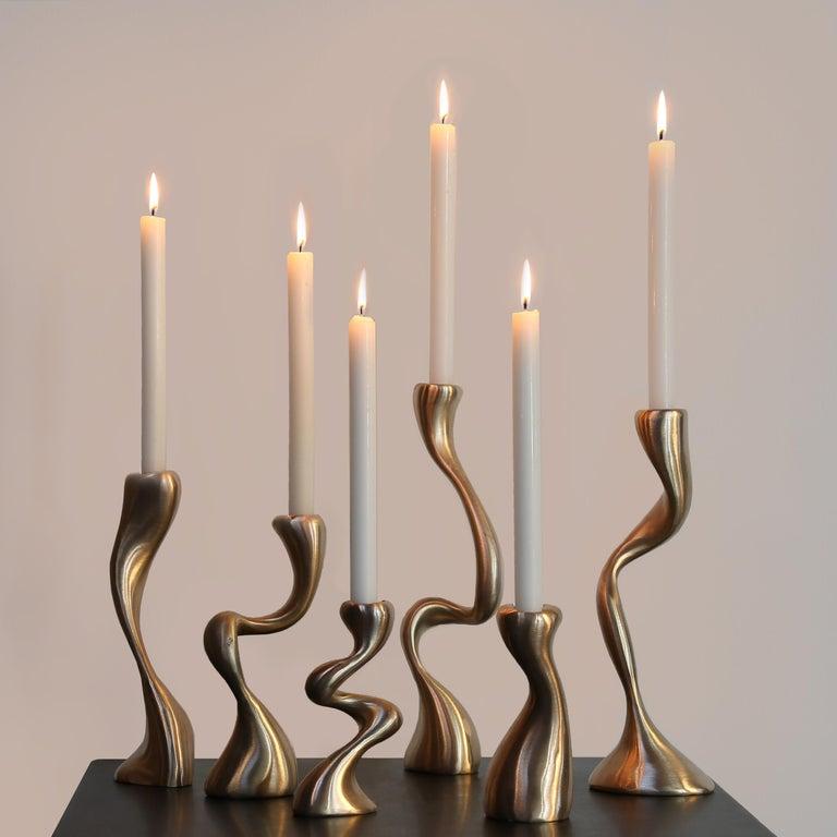 Anna Mae Candlesticks / Candleholders Cast Brushed Bronze, USA Jordan Mozer 2003 For Sale 1