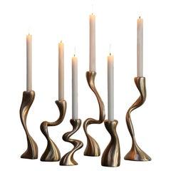 Anna Mae Candlesticks / Candleholders Cast Brushed Bronze, USA Jordan Mozer 2003