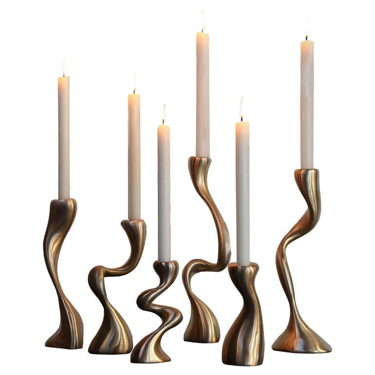 Anna Mae Candlesticks / Candleholders Cast Brushed Bronze, USA Jordan Mozer 2003 For Sale