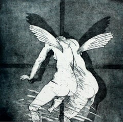 Angel - 21 century, Figurative etching print, Black and white
