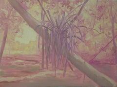 """FERN"", oil painting on panel, landscape, flora, tree, fecundity, tropics, heat"