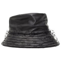 Anna Rizzo Black Leather Bucket Hat