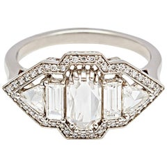 Anna Sheffield 1 Carat Rose Cut White Diamond Art Deco Style Engagement Ring