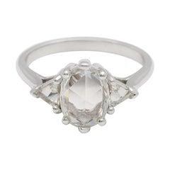 "Anna Sheffield 1.00 Carat Rose Cut ""Oval Bea Ring"" Diamond Platinum Ring"
