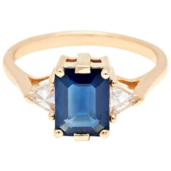 Anna Sheffield 14 Karat Gold and Blue Sapphire Bea Three Stone Engagement Ring