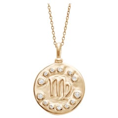 Anna Sheffield 14 Karat Gold and White Diamond Virgo Constellation Charm Pendant