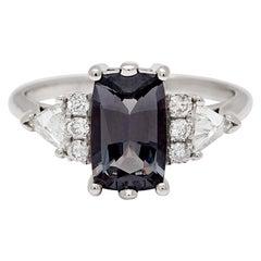 Anna Sheffield 14 Karat Gold, Grey Spinel and White Diamond Stardust Bea Ring