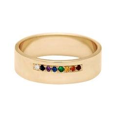 Anna Sheffield 14 Karat Gold Rainbow Sapphire Meridian Rainbow Band