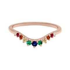 Anna Sheffield 14 Karat Gold Rainbow Sapphires Rainbow Tiara Curve Band