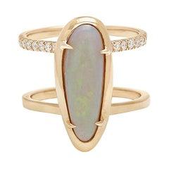 Anna Sheffield 14 Karat Yellow Gold, Opal and White Diamond Attelage Ring