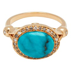 Anna Sheffield 14 Karat Yellow Gold, Turquoise and Grey Diamond Luna Ring