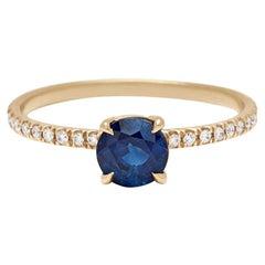 Anna Sheffield 14k Gold 0.75ct Sapphire & White Diamond Eleonore Delicate Ring