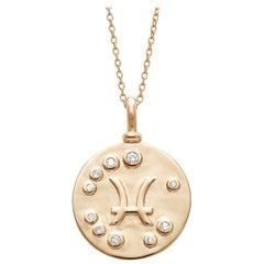 Anna Sheffield 14k Gold and White Diamond Pisces Constellation Charm Pendant