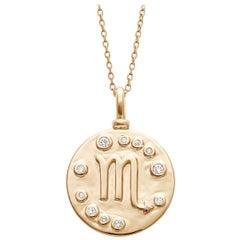 Anna Sheffield 14k Gold and White Diamond Scorpio Constellation Charm Pendant