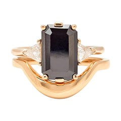 Anna Sheffield 14k Gold Black Diamond Bea Three Stone Engagement Suite
