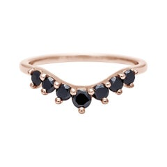 Anna Sheffield 14k Gold Black Diamond Cosmic Tiara Curve Wedding Band