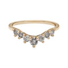 Anna Sheffield 14k Gold Grey Diamond Cosmic Tiara Curve Wedding Band